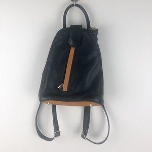 Valentina leather Backpack Sling Black/Camel Italy